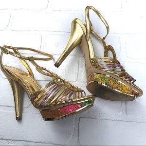 BCBGirls Debby Heels in Metallic Napa